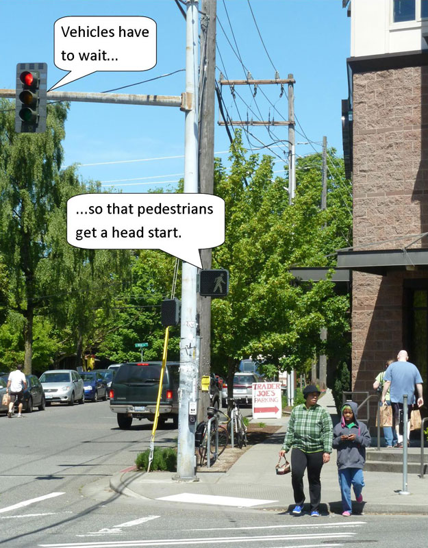 Example of Leading Pedestrian Interval Countermeasure; Vehicles have to wait... ... so that pedestrians get a head start.