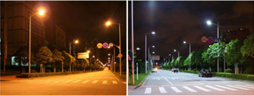 HPS and LED image comparison of night street light levels