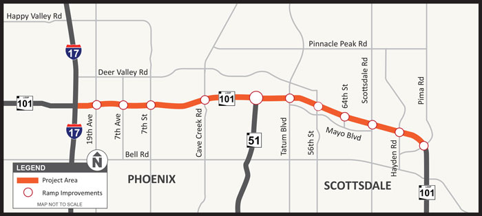 Project map: Loop 101 (Pima Freeway) Improvement Project: Interstate 17 to Pima Road
