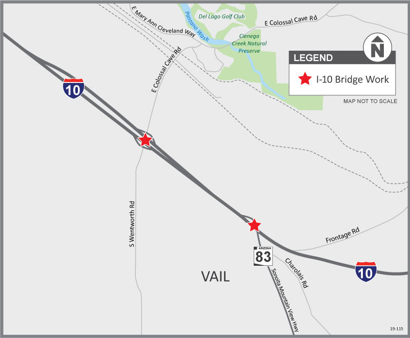 Map - I-10 Bridge Work Near Vail