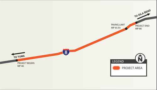 Project Area Map:  Interstate 8 Pavement Preservation Project between milepost 46 and Dateland