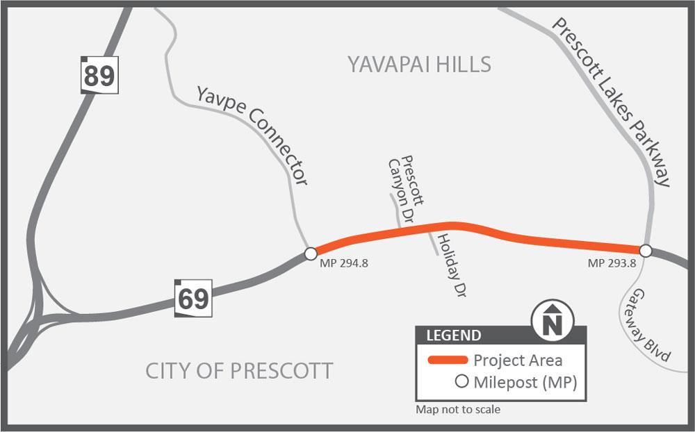 SR 69: Prescott Lake Parkway to Frontier Village Project Map