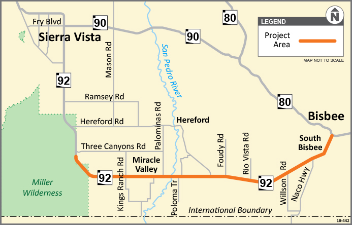 SR 92 Sierra Vista to Bisbee Chip Seal Project Area