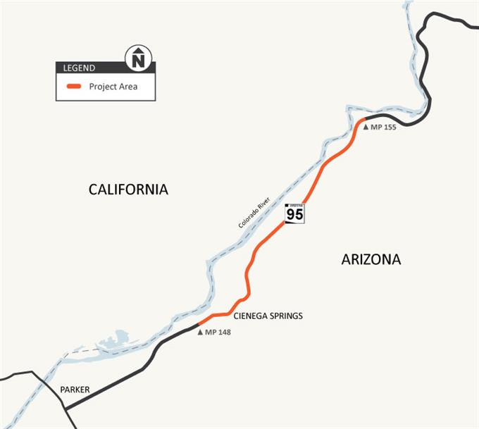 Project Map: SR 95 Beacon Rd to East Riverside Drive Parker