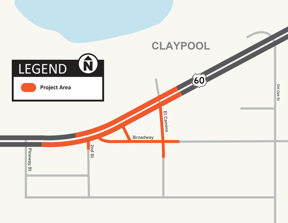 US 60 Claypool Intersection Realignment Project Map