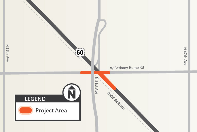 US 60 Bethany Home Road Intersection Project Map