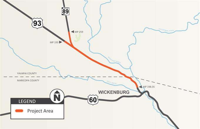 US 93: Tegner Street – State Route 89 Project Map