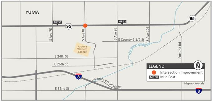 Project Map: US 95 and Avenue 8E Intersection Improvement Project
