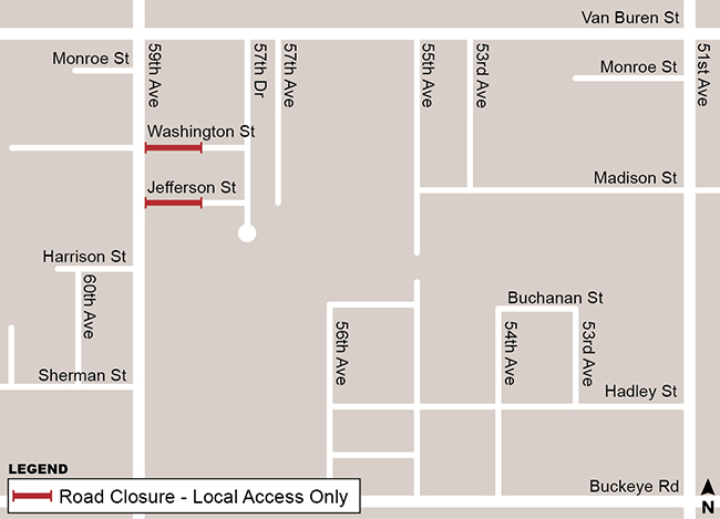 Washington and Jefferson Street Permanent Closure Map