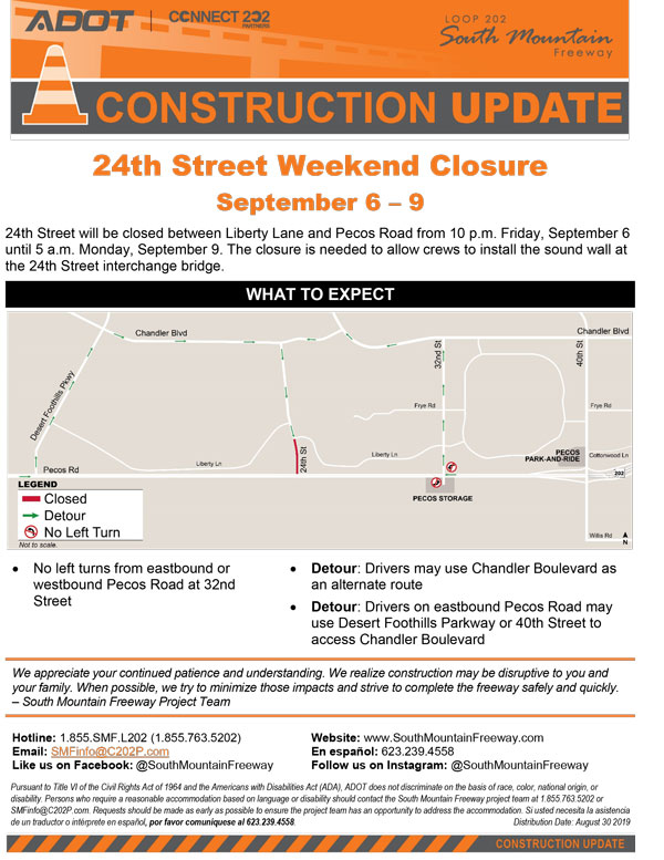 South Mountain Freeway Project - 24th Street Weekend Closures - Sept. 6-9, 2019