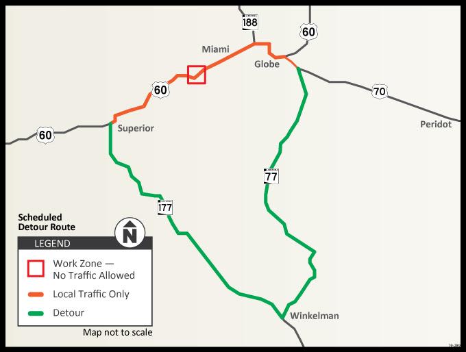 US 60 Pinto Creek Detour Map