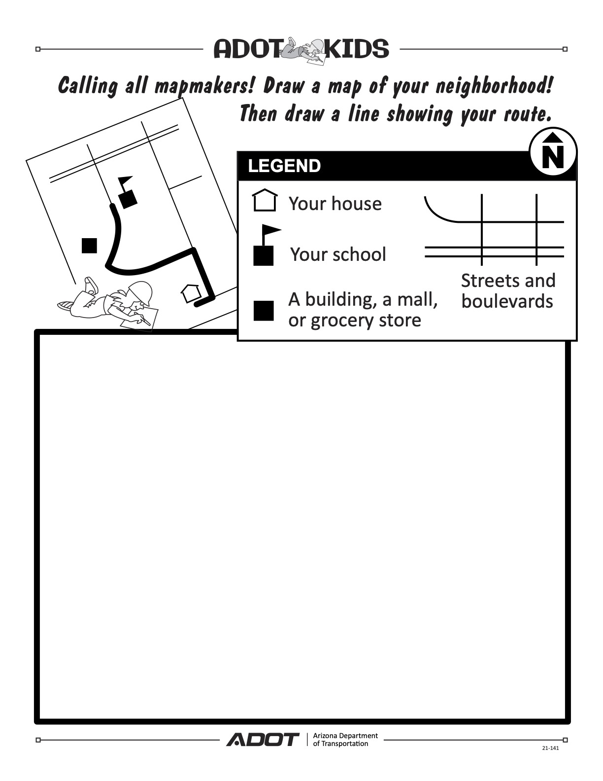 ADOT Kids bicycle safety draw-a-map activity safety tips