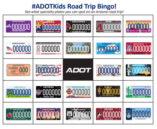 ADOT License Plate Bingo cards