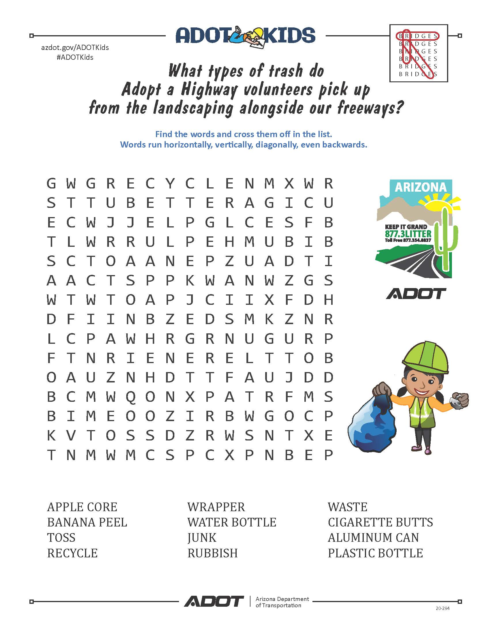 ADOT Kids AAH Word Search
