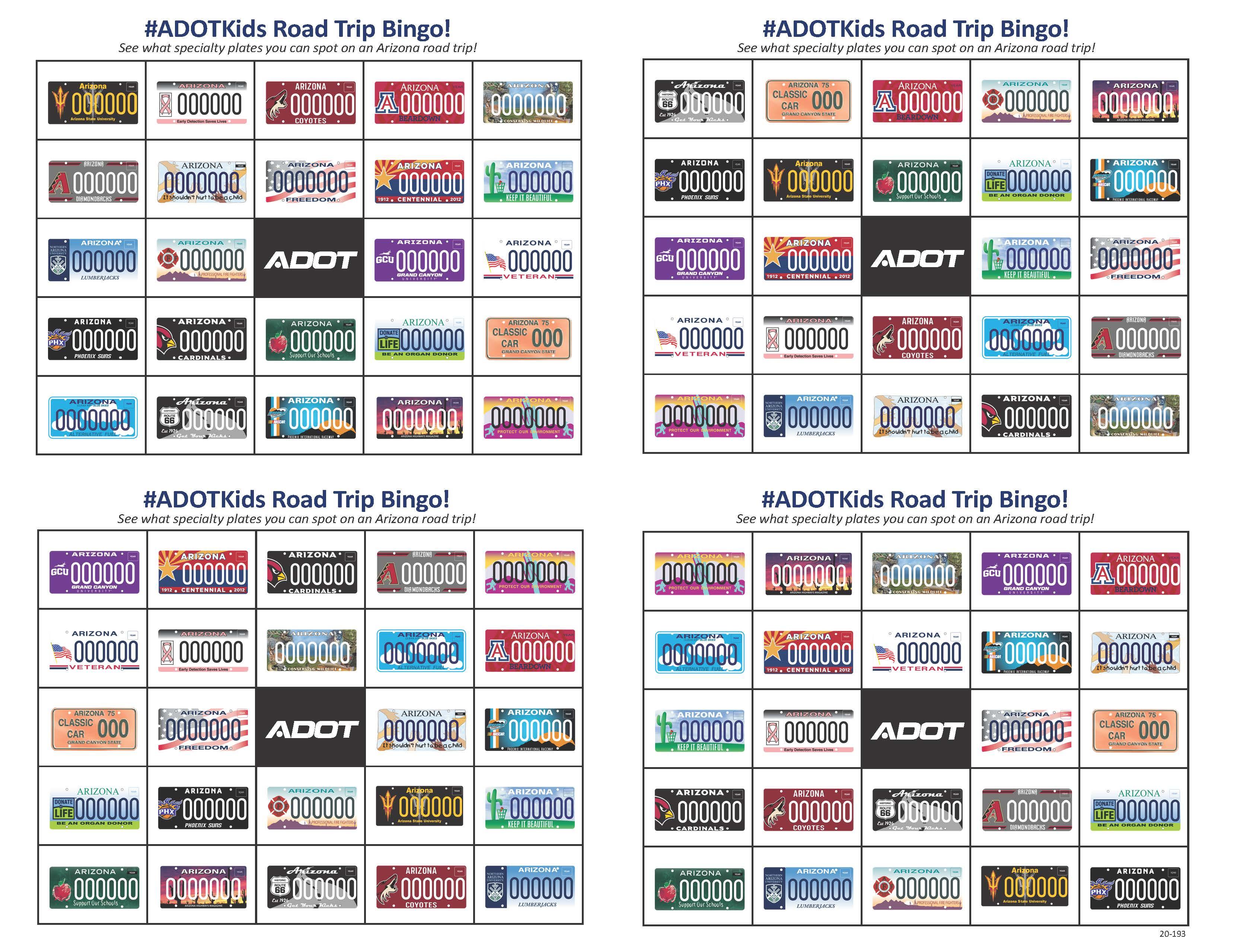 ADOT License Plate Bingo