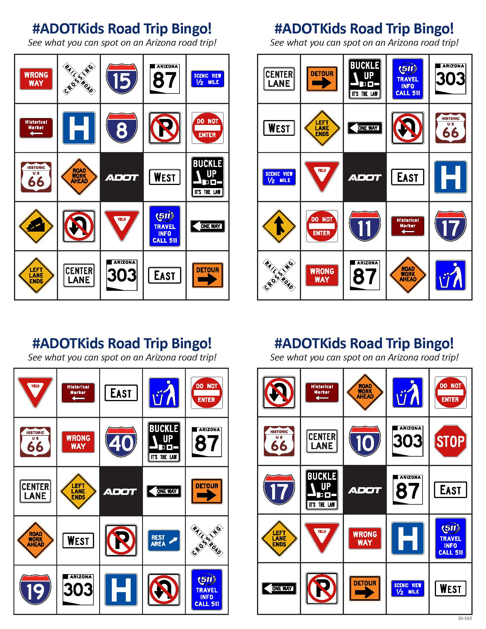 ADOT Traffic Sign Bingo