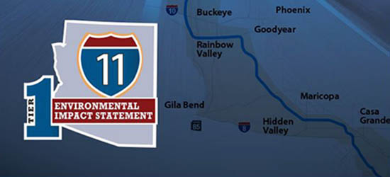 I-11 Tier I Environmental Impact Statement with map of proposed route