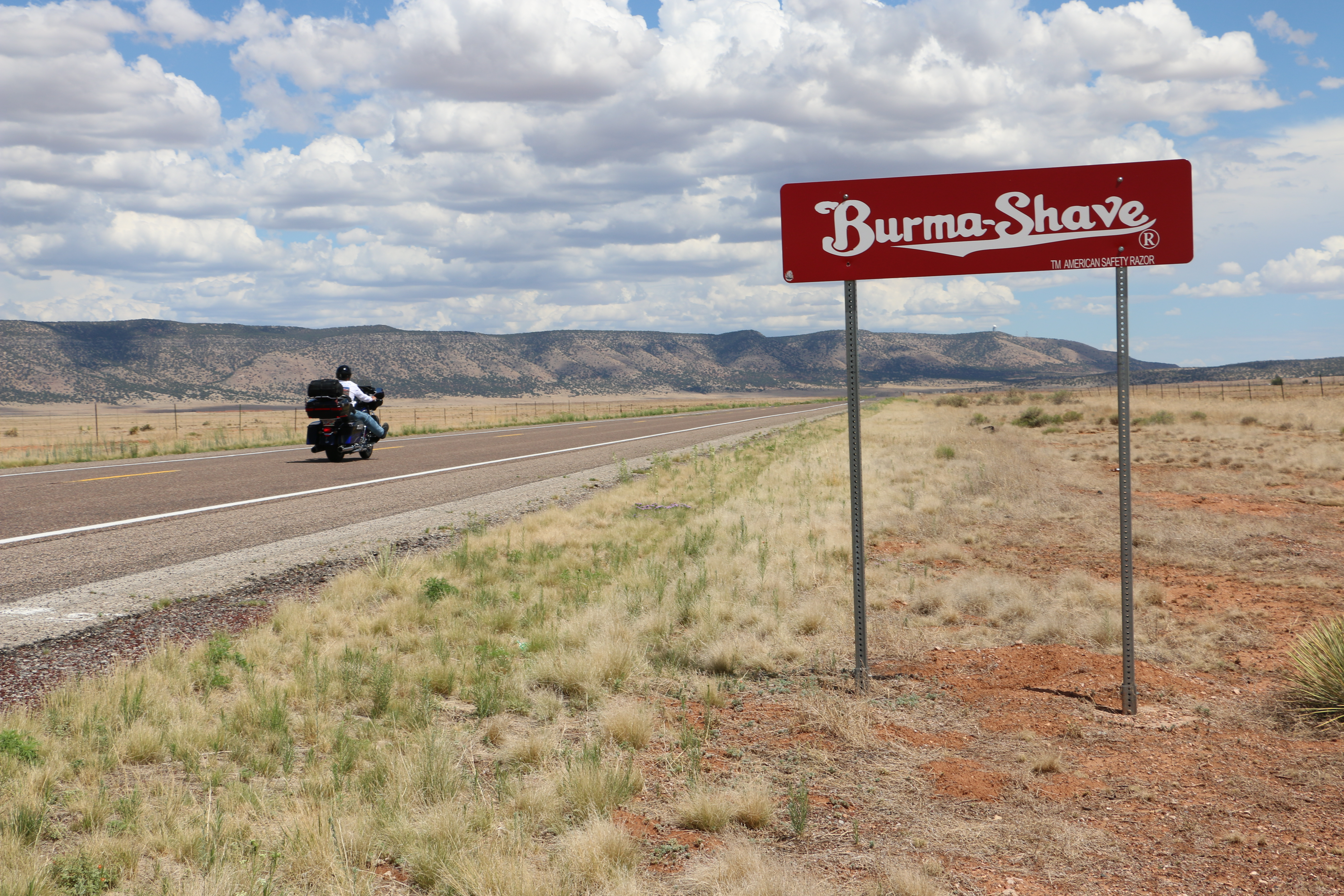 Burma-Shave motorcycle sign