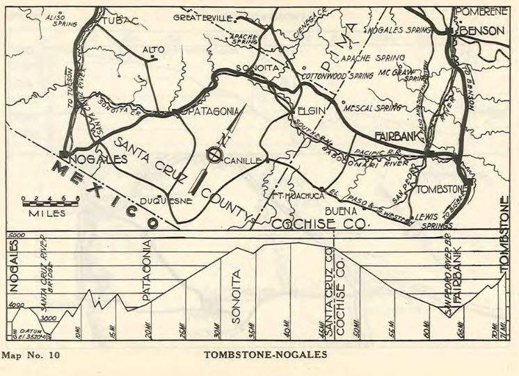 Map of Tombstone-Nogales Highway