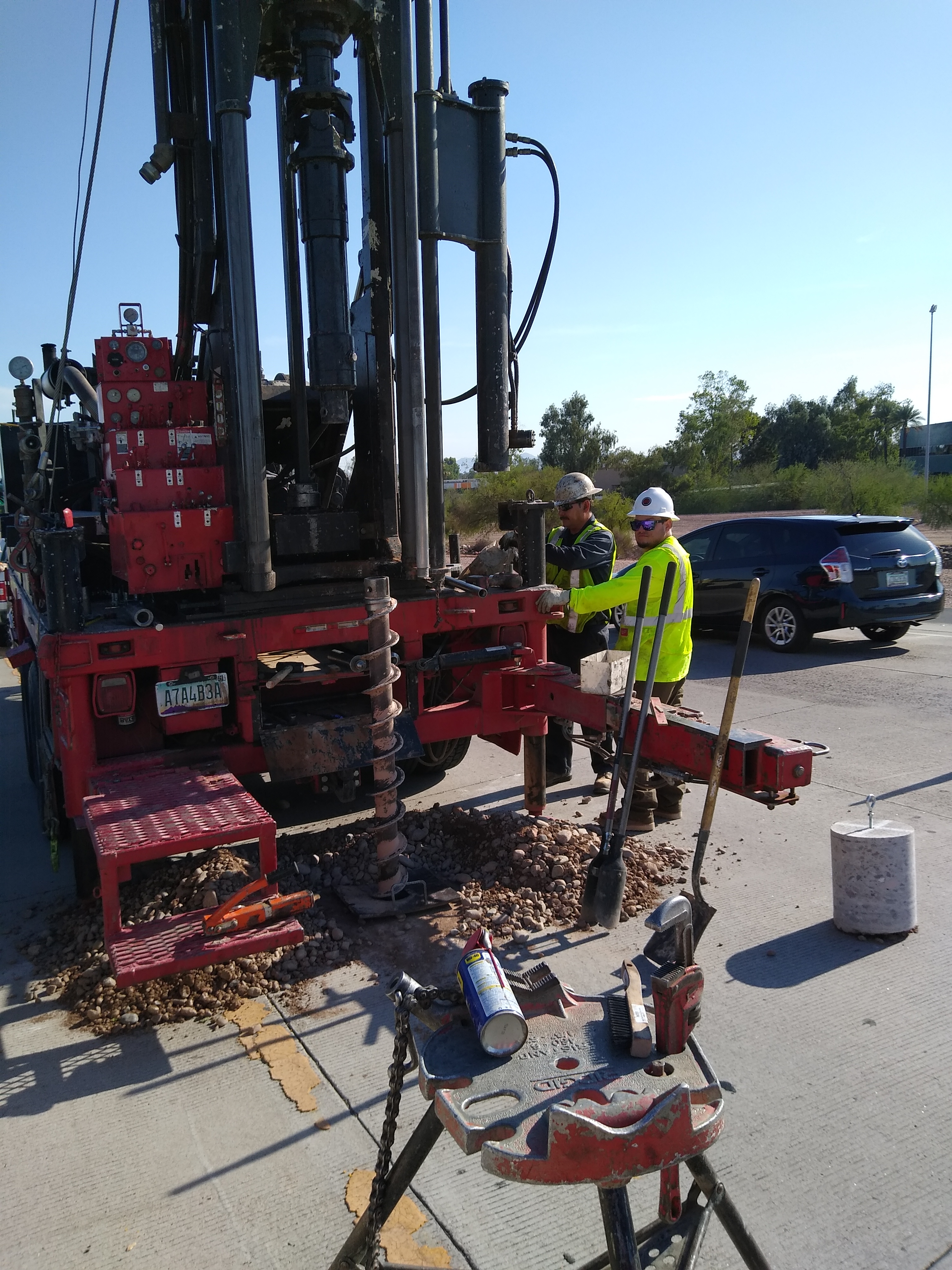 Crew operating a large drill
