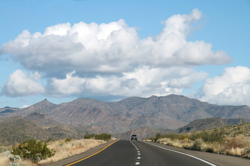 Arizona Highway SR 87 with Mountains in the background