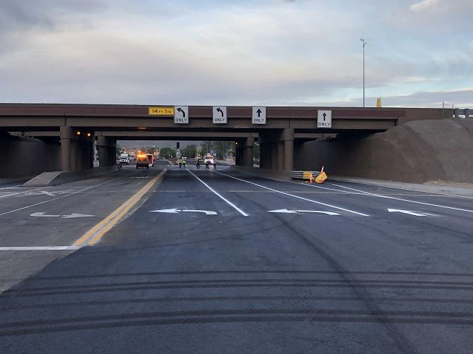 Photo of I-10/Cortaro Road interchange with new lane configuration
