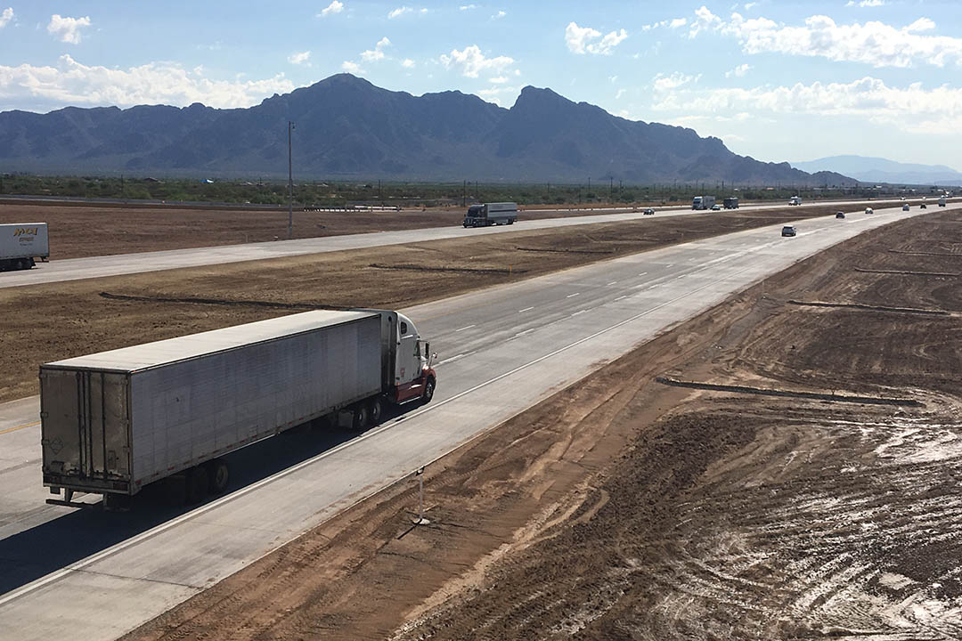 View from State Route 87 bridge over I-10 in Eloy.