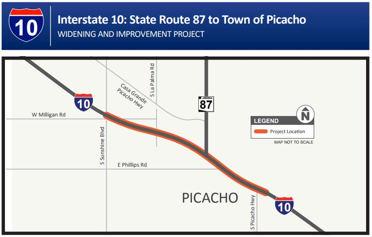 I-10: State Route 87 to Town of Picacho Map