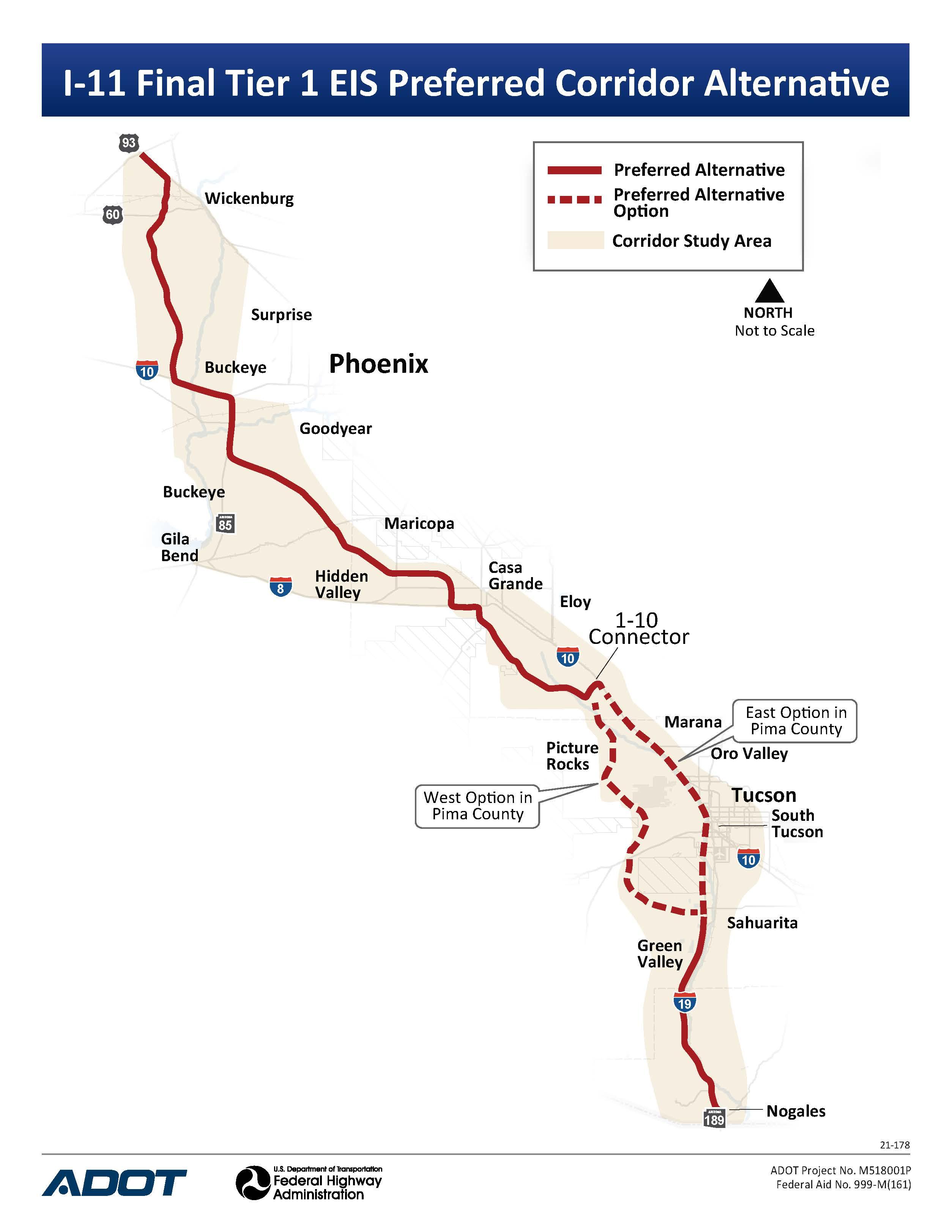 I-11 Preferred Corridor Map