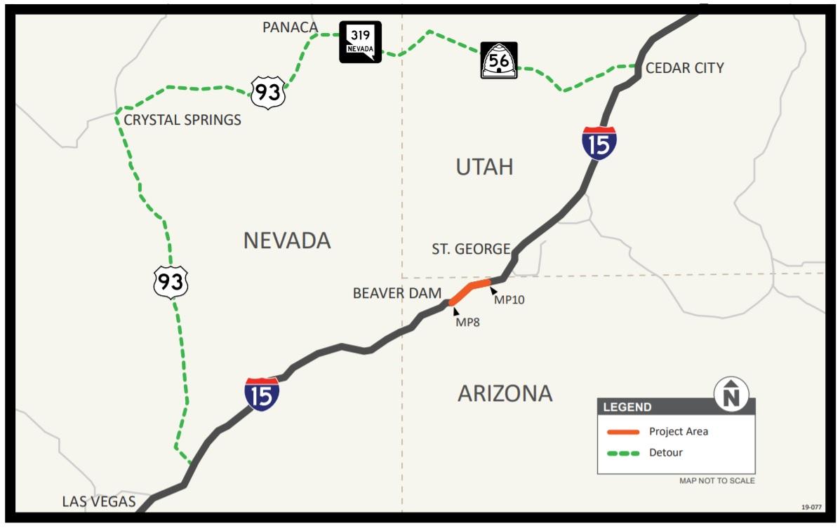 I-15 oversize vehicle detour map
