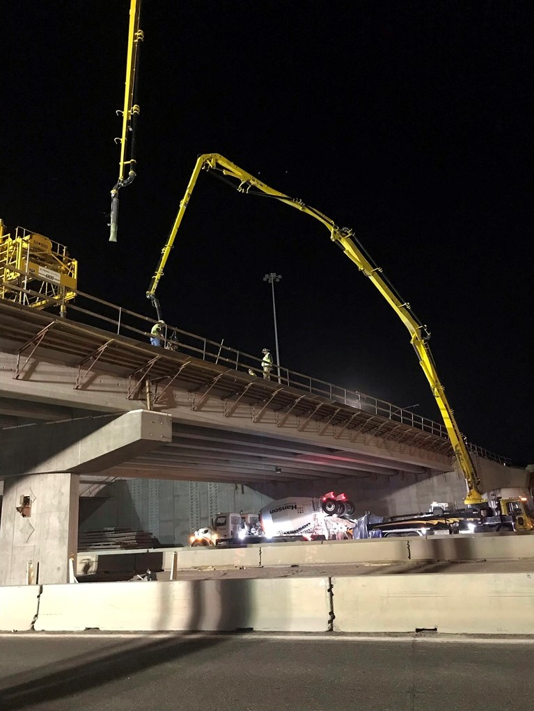 Pouring the deck of the Happy Valley bridge at I-17