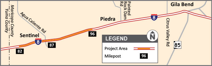 I-8 Pavement Project area map