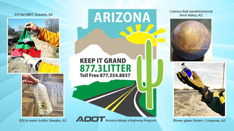 Adopt a Highway volunteer National Volunteer Week 2021 treasures roadside cleanup