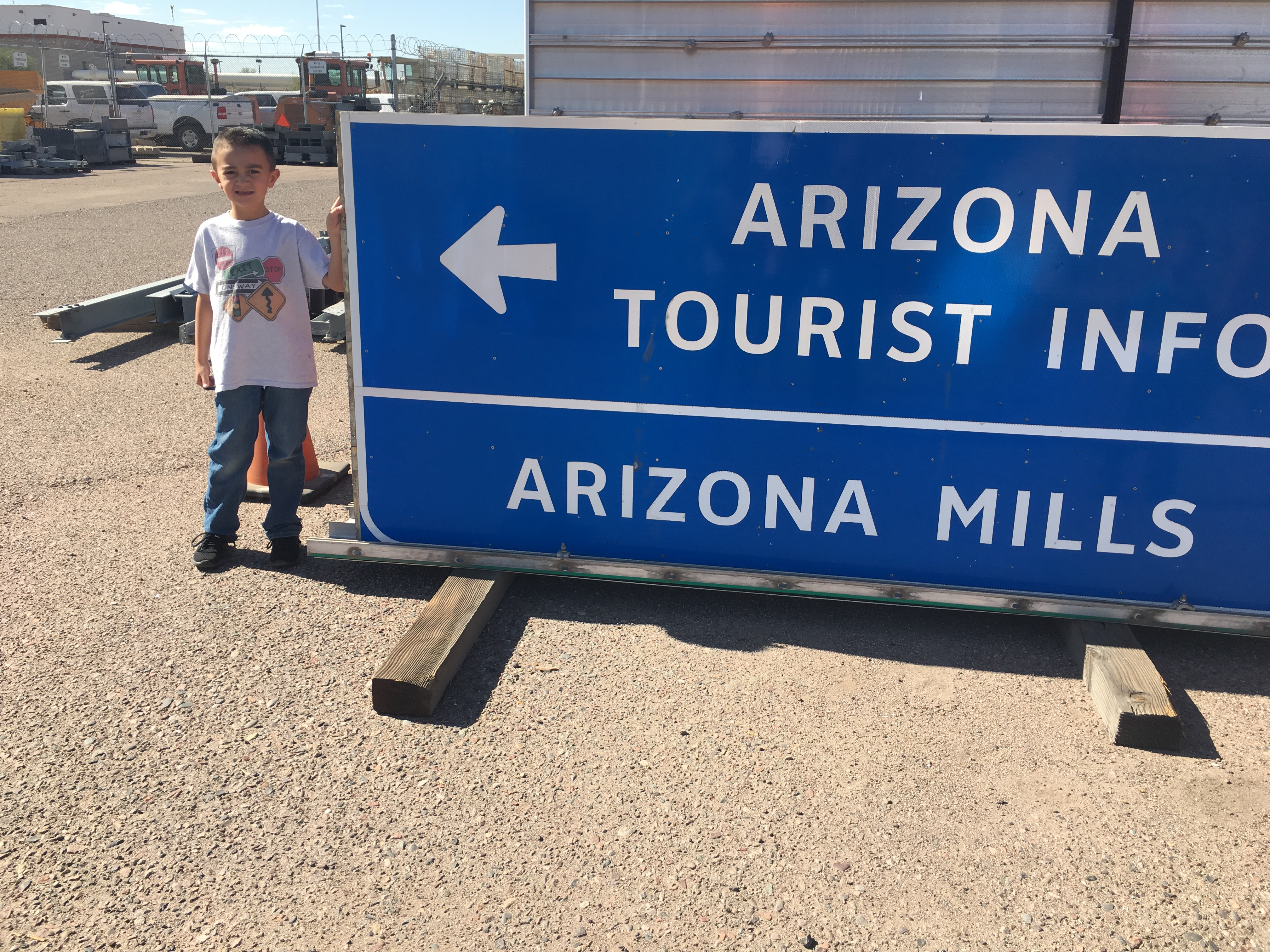 Hunter poses with a favorite sign