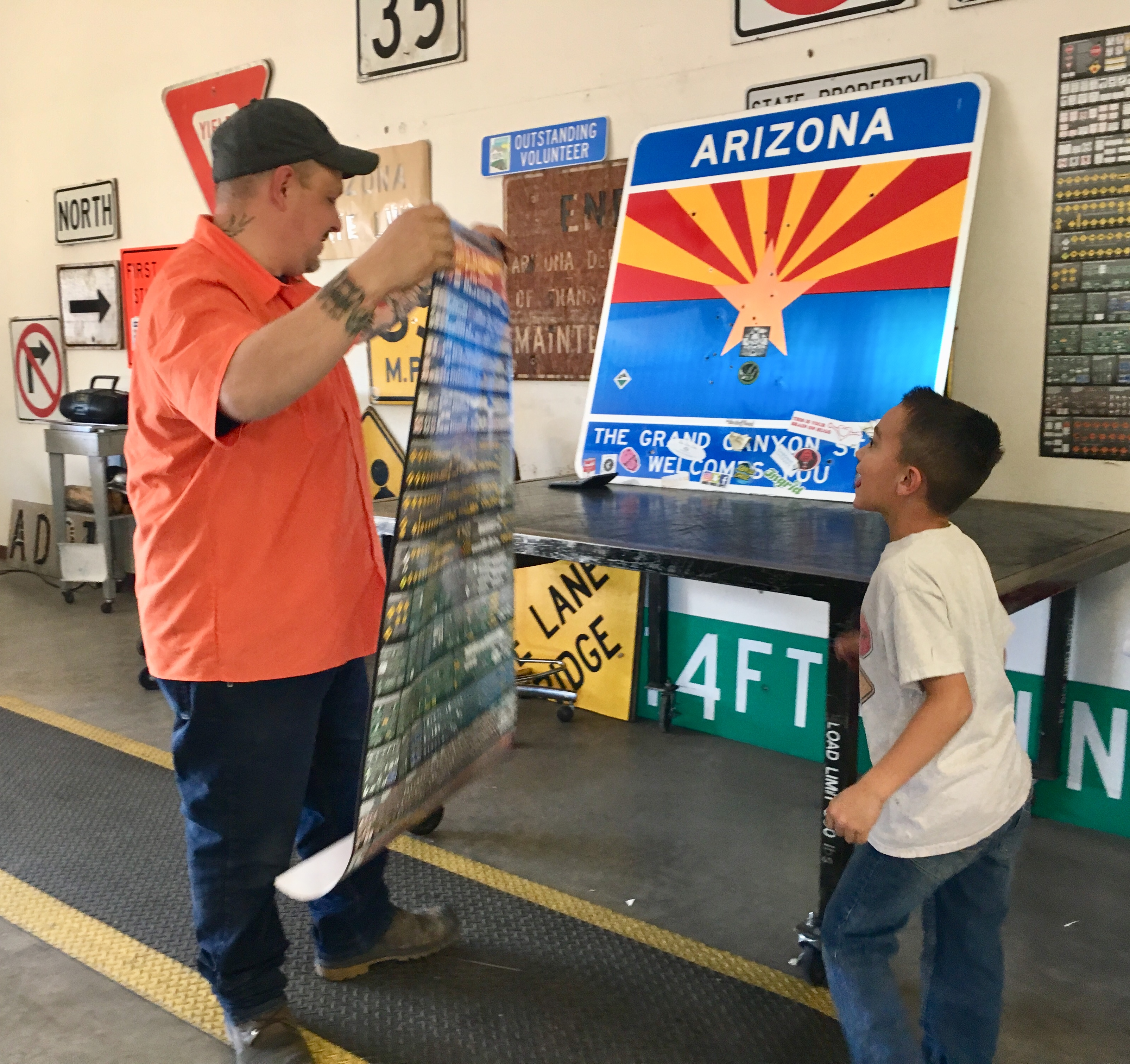 Hunter was fascinated with a chart of ADOT signs