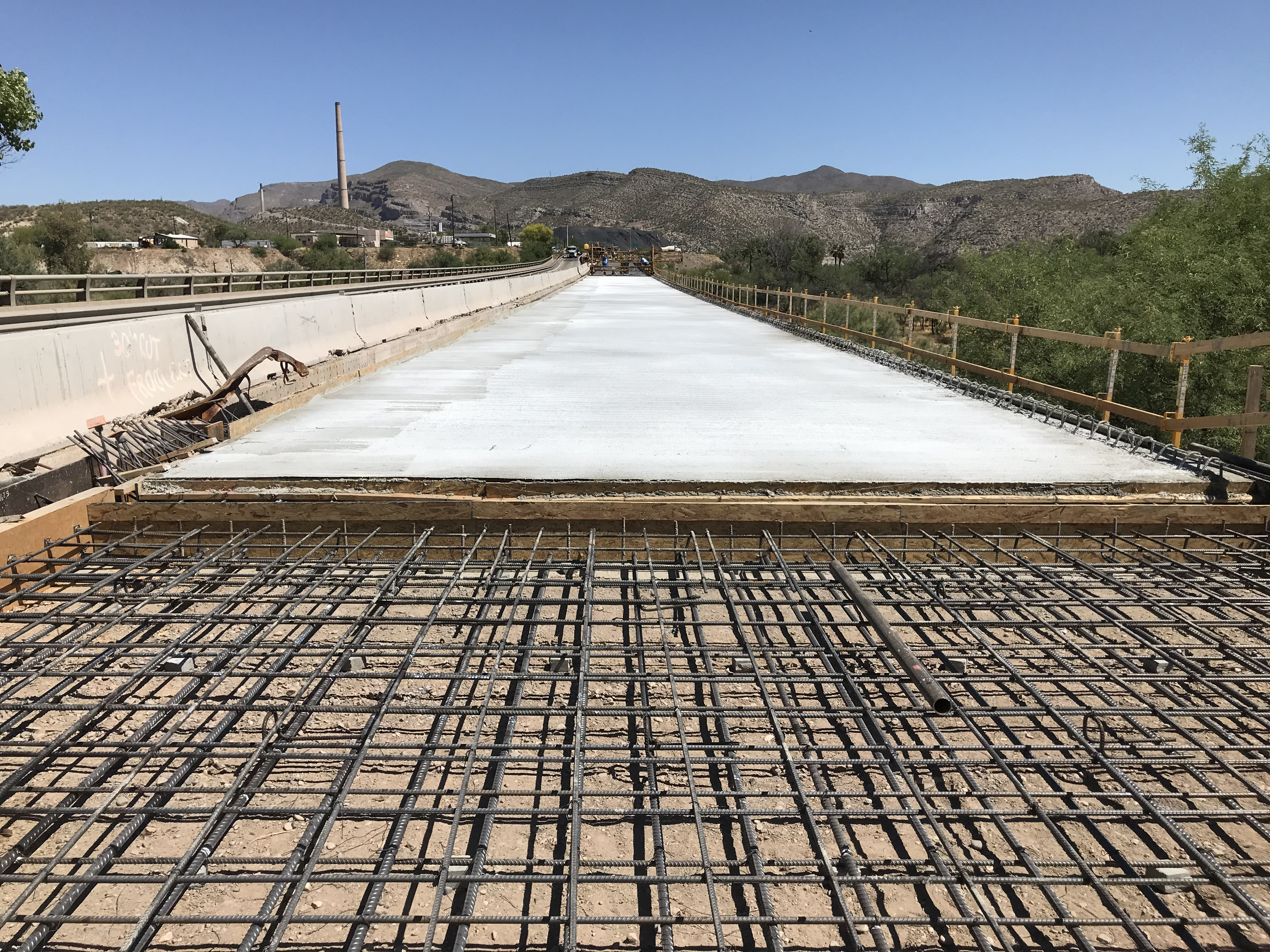 Concrete pourted for SR 77 bridge deck in Winkelman