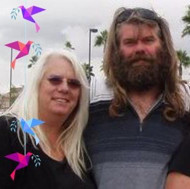 Linda with her husband, Marc Philbrook, AKA Sasquatch