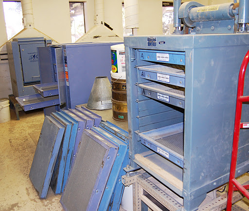 Materials testing course screens help separate rock by size