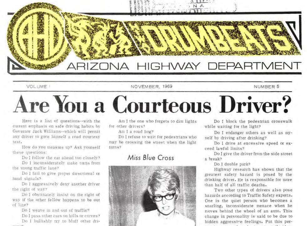 November 1969 Arizona Highway Department Drumbeats courteous driver self-examination