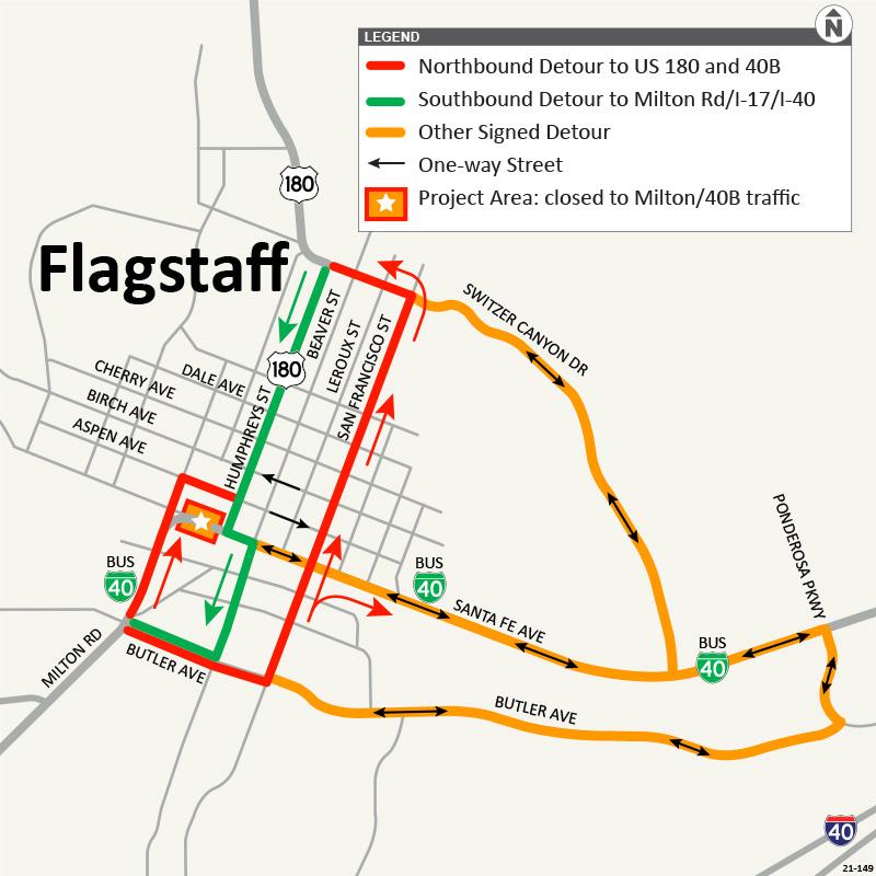Rio de Flag detour map