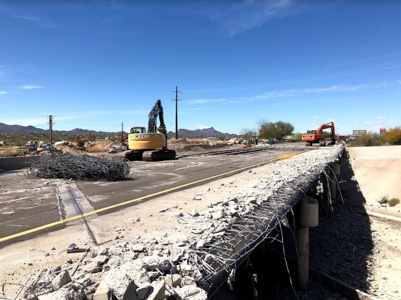 Eastbound Interstate 10 bridge demolition at Ruthrauff Road