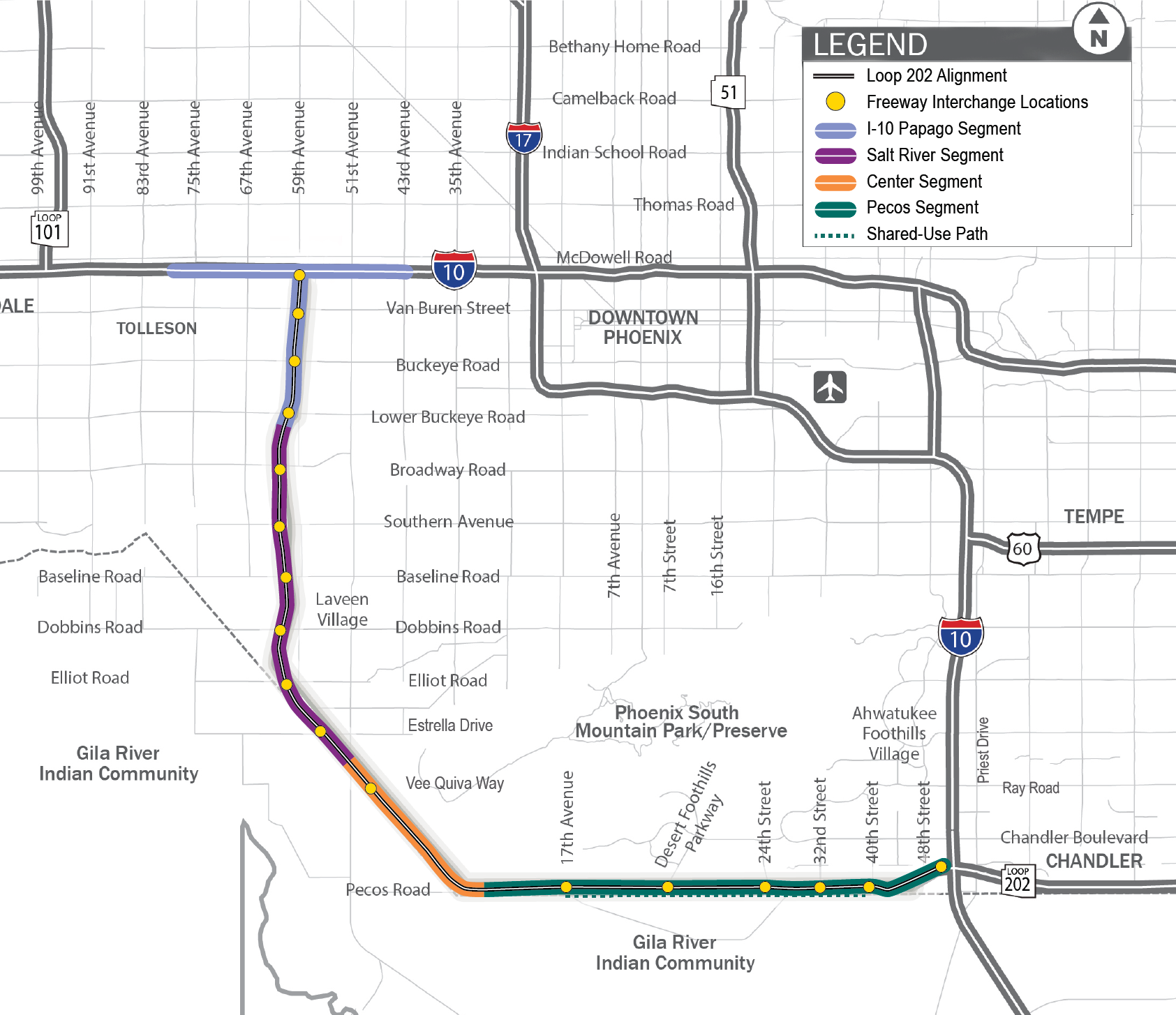 South Mountain Freeway Line Map with Segments 2019