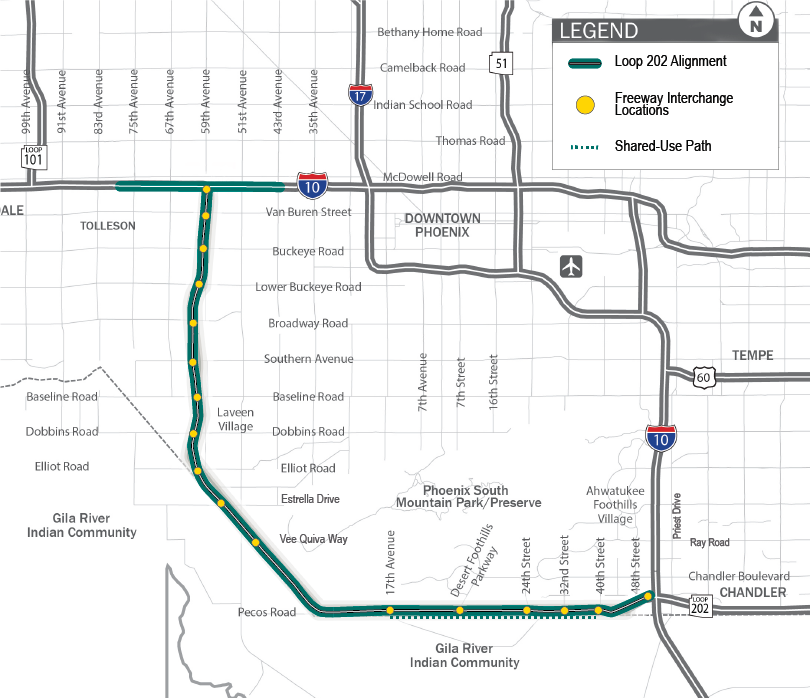 South Mountain Freeway Line Map 2019