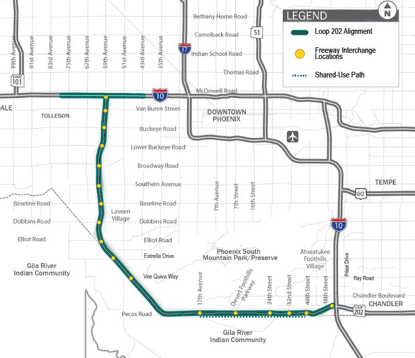 South Mountain Freeway map