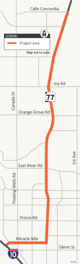 Map of State Route 77 in the Tucson area