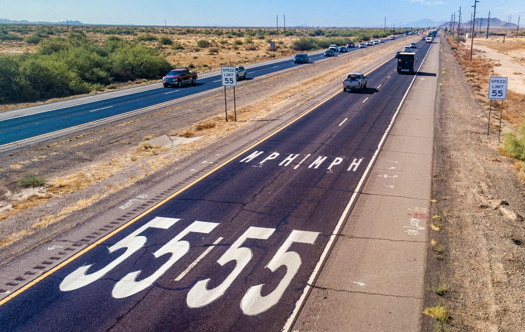 SR 347 speed limit decals on pavement
