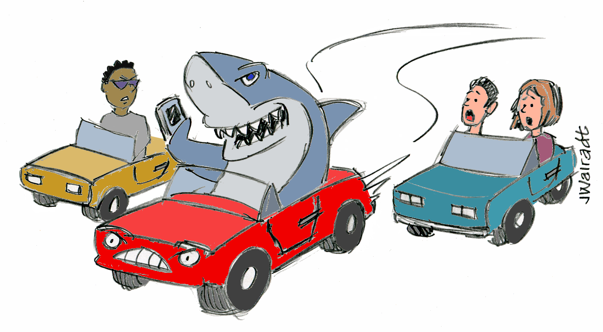 Shark in traffic graphic