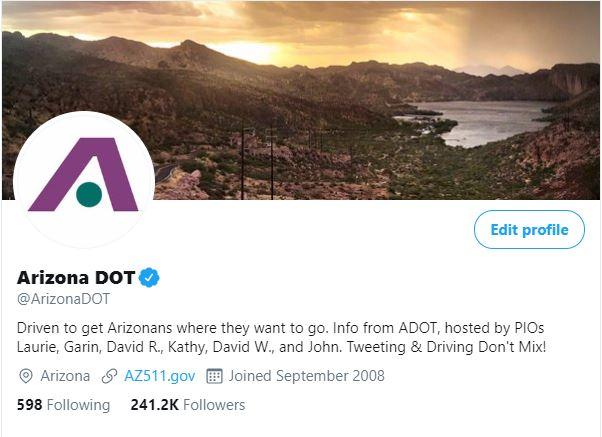 ADOT Twitter profile