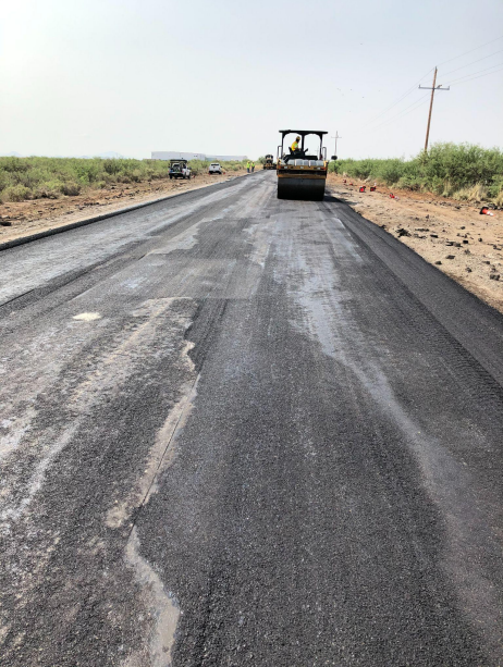 Photo of repaired section of US 191 south of Willcox