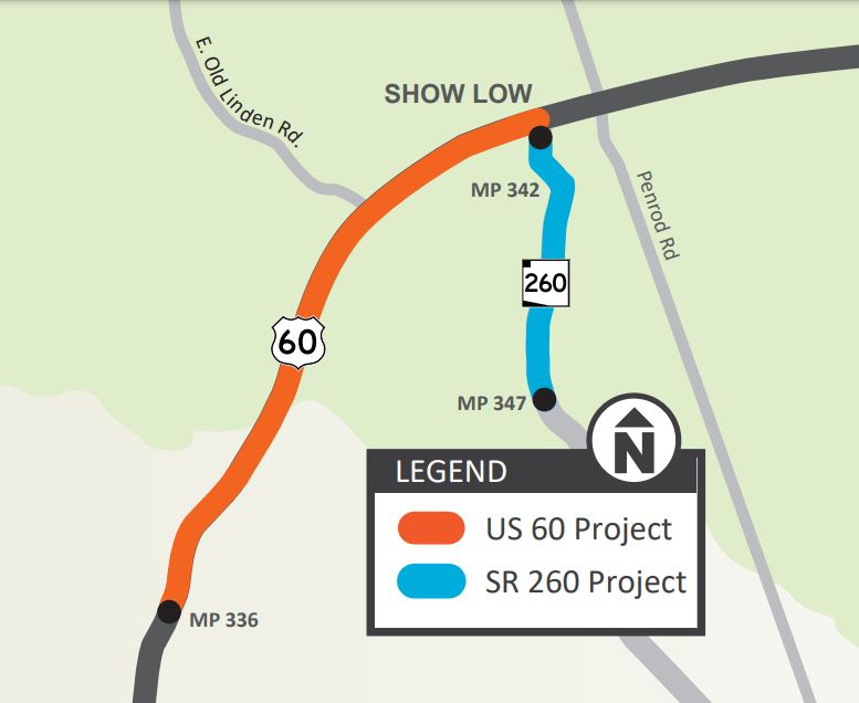 US 60 and SR 260 project map
